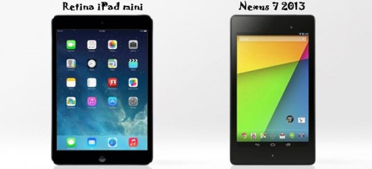مقایسه اجمالی میان تبلت های رتینا آیپد مینی Retina iPad mini اپل و نسخه 2013 نکسوس Nexus 7