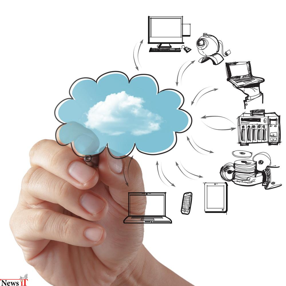 Businessman drawing a Cloud Computing diagram